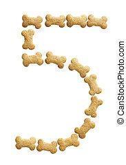 Number 5 made of bone shape dog food on white background,...
