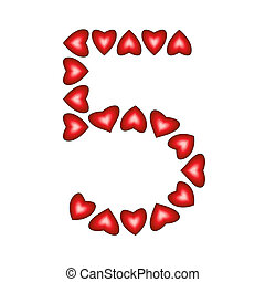 Number 5 made of hearts