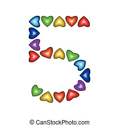 Number 5 made of multicolored hearts