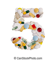 Number 5 made of pills