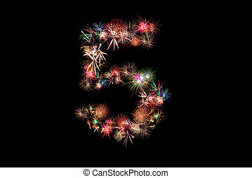 Number 5. Number alphabet made of real fireworks. See other numbers in my portfolio.