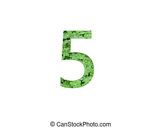 Number 5 of the alphabet made with green leaf of geranium
