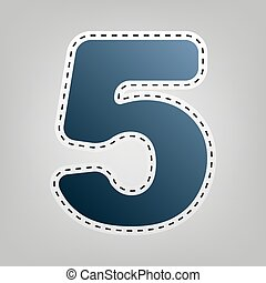 Number 5 sign design template element. Vector. Blue icon with outline for cutting out at gray background.