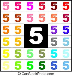 Number 5 sign design template element. Vector. Felt-pen 33 colorful icons at white and black backgrounds. Colorfull.