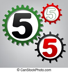 Number 5 sign design template element. Vector. Three connected g