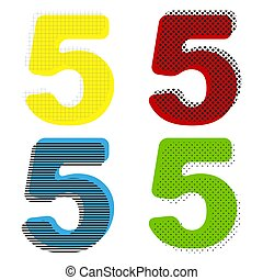 Number 5 sign design template element. Vector. Yellow, red, blue