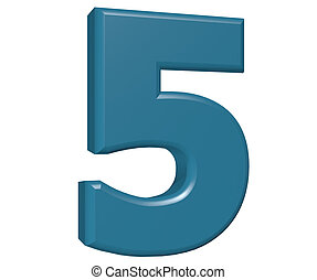 Number 5 on white background