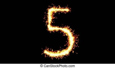 Number 5 Text Sparkler Writing With Glitter Sparks Particles Firework on Black 4K Loop Background. letter , alphabet , typography , Typeface , Font , character .