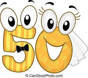 Number 50 Design Couple Mascot Golden Wedding Anniversary