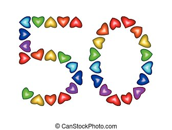 Number 50 made of multicolored hearts