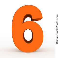 number 6 3d orange isolated on white