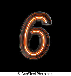 Number 6, Alphabet made from Neon Light with clipping path