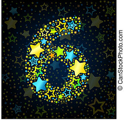 Number 6 cartoon kid style vector font with colored stars