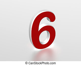 Number 6 - The number 6 - computer generated image