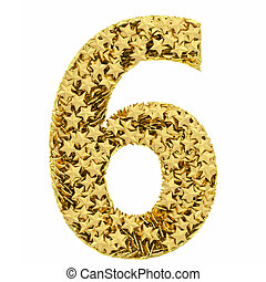 Number 6 composed of golden stars isolated on white