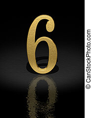 Number 6 - 6 Gold Number on black background - 3d image