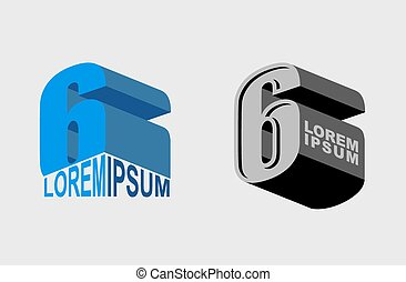 Number 6. Figure 6. Set Vector Logo or corporate identity.
