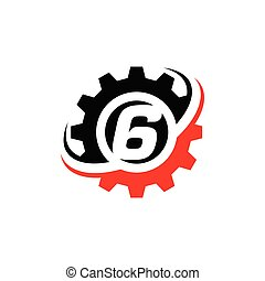 Number 6 Gear Logo Design Template