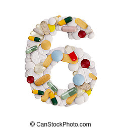 Number 6 made of pills
