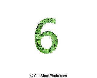 Number 6 of the alphabet made with green leaf of geranium