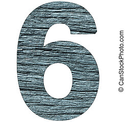 number 6 on wooden background with blue tone