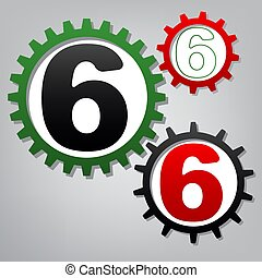Number 6 sign design template element. Vector. Three connected g
