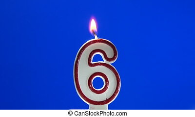 Number 6 - six birthday candle burning - blow out at the end