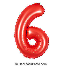 number 6 (six) from balloons (red)
