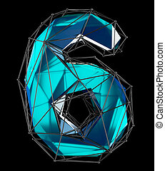 Number 6 six in low poly style blue color isolated on black background. 3d