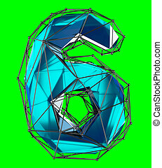 Number 6 six in low poly style blue color isolated on green background. 3d
