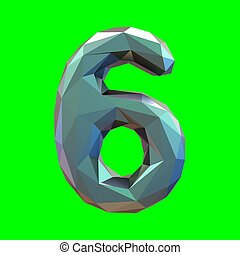 Number 6 six in low poly style isolated on green background. 3d