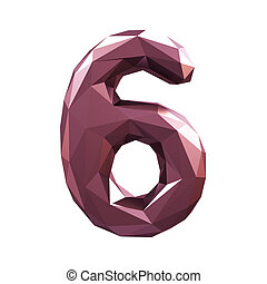 Number 6 six in low poly style isolated on white background. 3d
