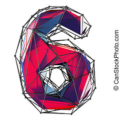 Number 6 six in low poly style red color isolated on white background. 3d
