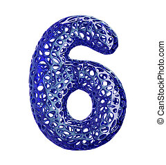 Number 6 six made of blue plastic with abstract holes isolated on white background. 3d