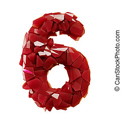 Number 6 six made of plastic shards red color isolated on white background. 3d
