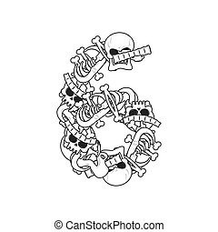 Number 6 skeleton. Bones Font six. Anatomy of an alphabet symbol. dead ABC sign