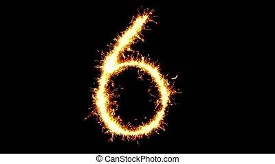 Number 6 Text Sparkler Glitter Sparks Firework Loop...