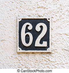 Number 62 - house number sixty two