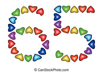 Number 65, sixty five of colorful hearts on white - Number...