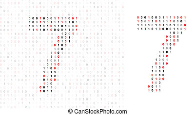 Number 7, alphabet from binary code