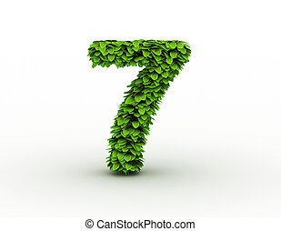 Number 7, alphabet of green leaves isolated on white background, lowercase