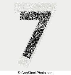 Number 7 - Black grunge number 7 on gray background. eps10