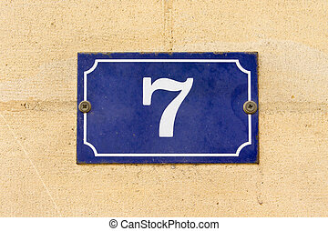 Number 7 - Enameled house number seven (7)