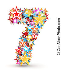 Number 7 from colored stars - Number 7, from bright colored...