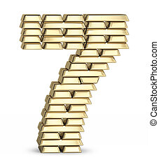 Number 7 from gold bars