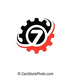 Number 7 Gear Logo Design Template