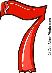 Number 7, illustration, vector on white background.