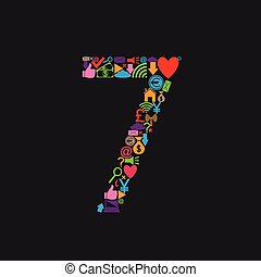 Number 7 with web icons on the black background. Vector...