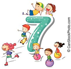Number 7 - Kids playing with the number 7