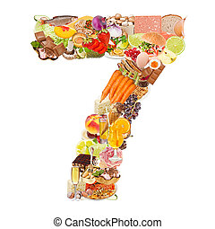 Number 7 made of food